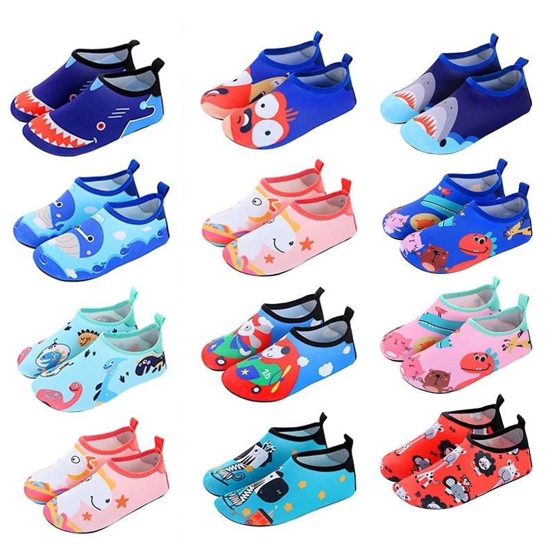 Children Quick Drying Swim Water Shoes Casual Footwear Barefoot LightWeight Aqua Socks For Beach Pool Cartoon Kids Slippers
