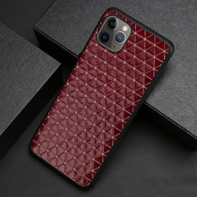 Genuine Leather Phone Case For iPhone 11 Pro Apple X XS Max XR 9 8 7 6 6S Plus Cowhide Triangle Business Texture Cover