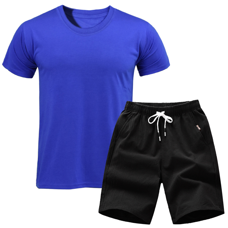 2019 New Causal Sportswear Tops Short Trousers Two Piece Set Men Short Sleeve TShirt Cropped Top+Shorts Men's Tracksuits Outfit