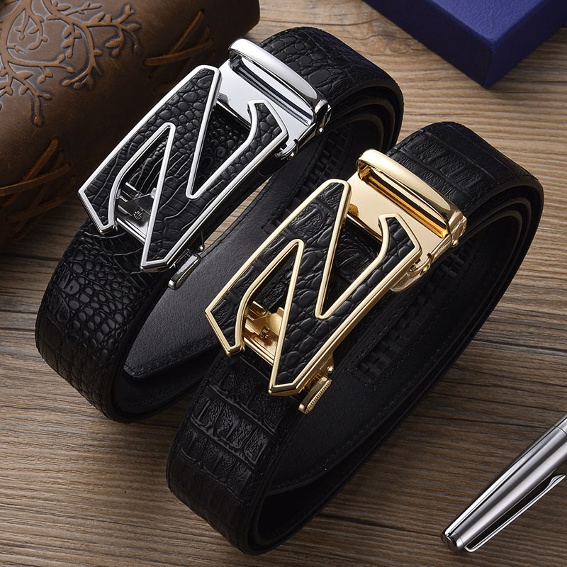 2021 Men's New High Quality Belt Fashion Auto buckle Z Button Pure cowhide Belt Youth Fashion Men's Tapes