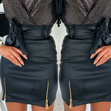 2020 Autumn Spring Women Short Skirt PU Leather Sexy Mini Skirt