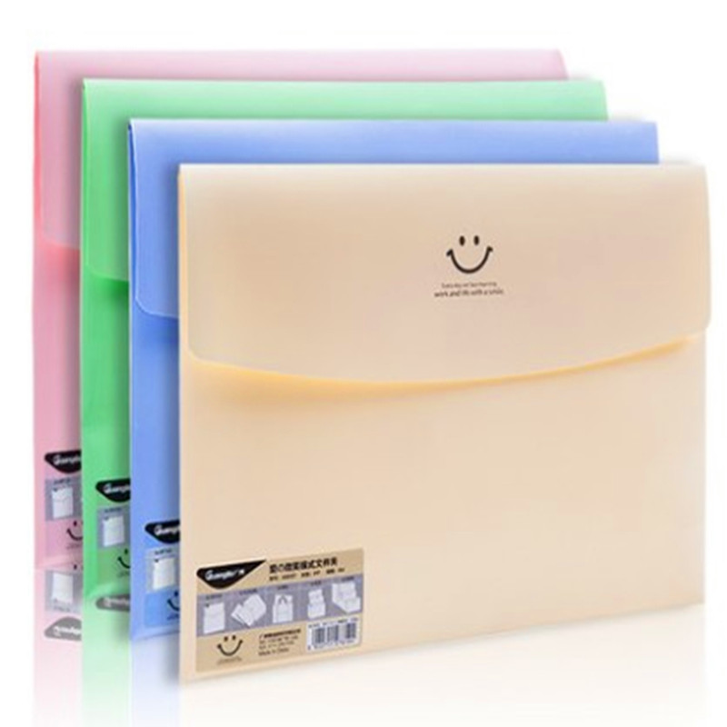 4PCS/LOT NNRTS Smile Snap Button Paper Bag Office Study Folder Waterproof Information Bag File Package
