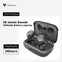 TWS X10 wireless earphones bluetooth IPX7 waterproof Volume control BT V5.0 Noise Reduction 3D stereo 3500mAh Battery capacity