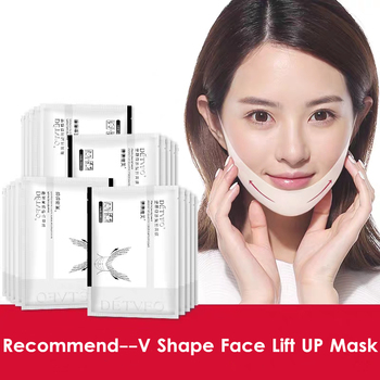 V Shape Face Lift Up Mask Face Slimmer Double Chin Resist Ageing Wrinkle Remover V Bandage Lifting Tightening Collagen Mask недорого