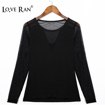 Women's Long Sleeve V-Neck Transparent Blouse Patchwork Black Mesh Ladies Tops and Blouses 2020 Summer Casual Female Blouses