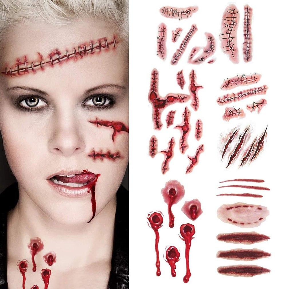 Креативный Хэллоуин ужасная рана реалистичный запятнанный крови Шрам шаблон водонепроницаемые наклейки татуировки украшения фестиваля