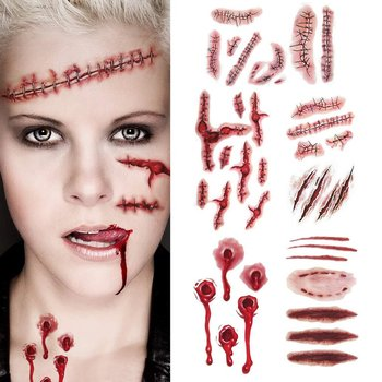 creative Halloween Horror Wound Realistic Bloodstained Scar Pattern Waterproof Tattoo Stickers festival decorations image