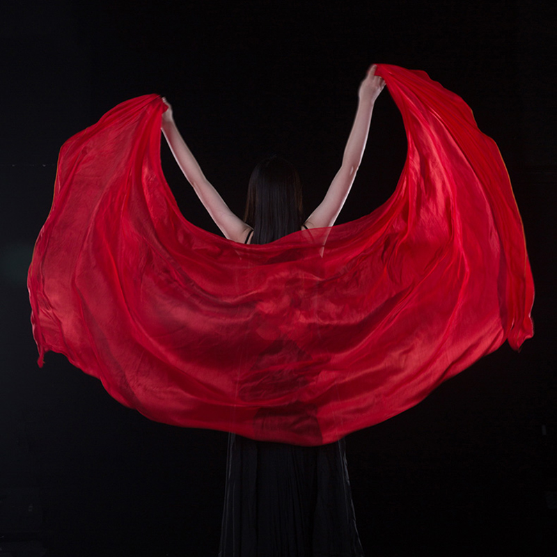 100% Silk Performance Dancewear Solid Color Light Texture Veil Shawls Women Scarf Costumes Accessories Belly Dance Veils 250cm