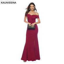 KAUNISSINA Women Off Shoulder Evening Dress Sexy Party Prom Gown Long Zipper Bridal Dresses Elegant Robe