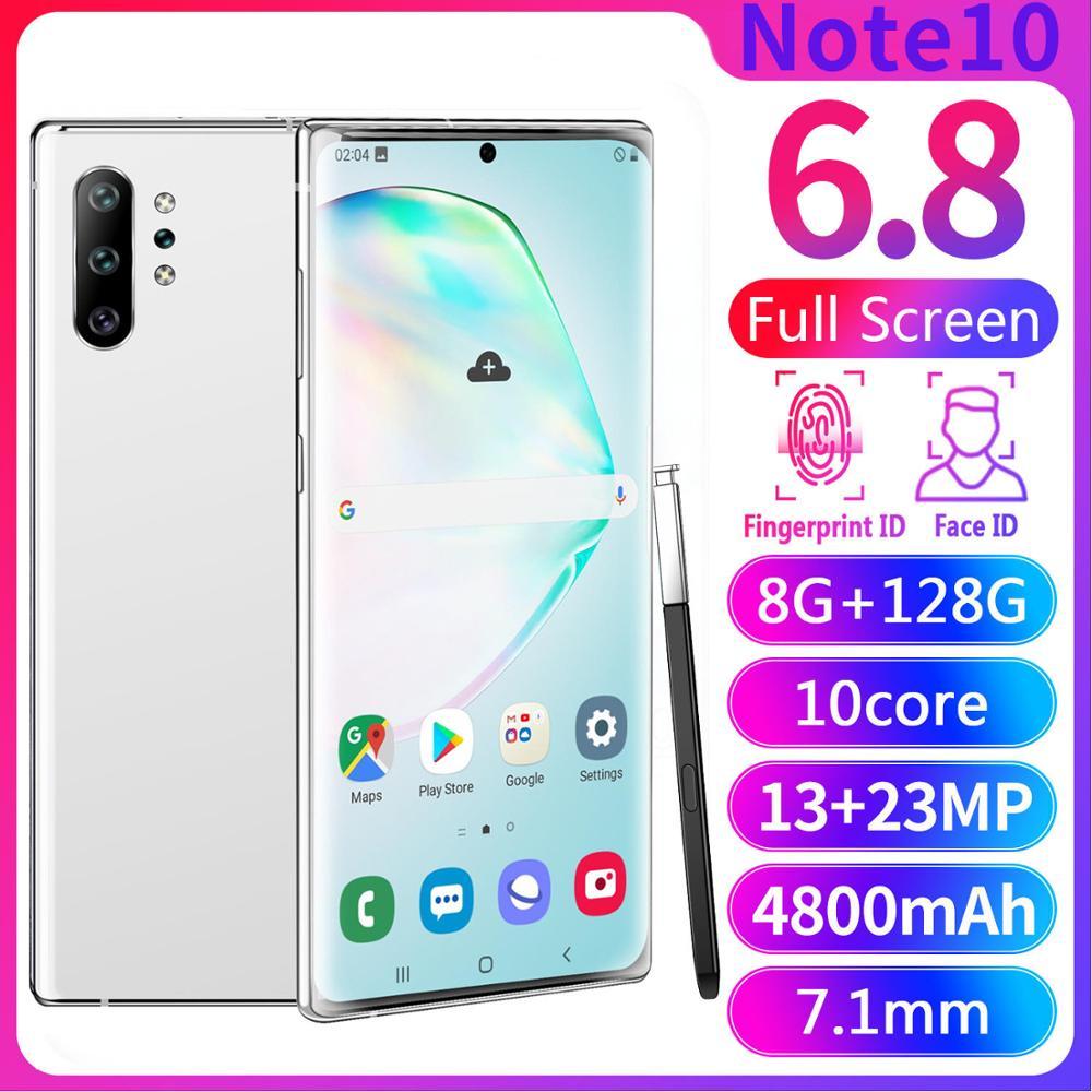 Смартфон глобальная версия Note10 Plus, 6,8 дюйма, AMOLED, изогнутый экран, MTK6580, 4 ядра, Android 9,1, Face ID, RAM1GB ROM, 16GB мобильный телефон