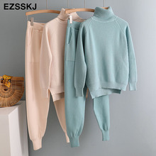Turtleneck Sweater + Jogging Pants Set Knitted RK