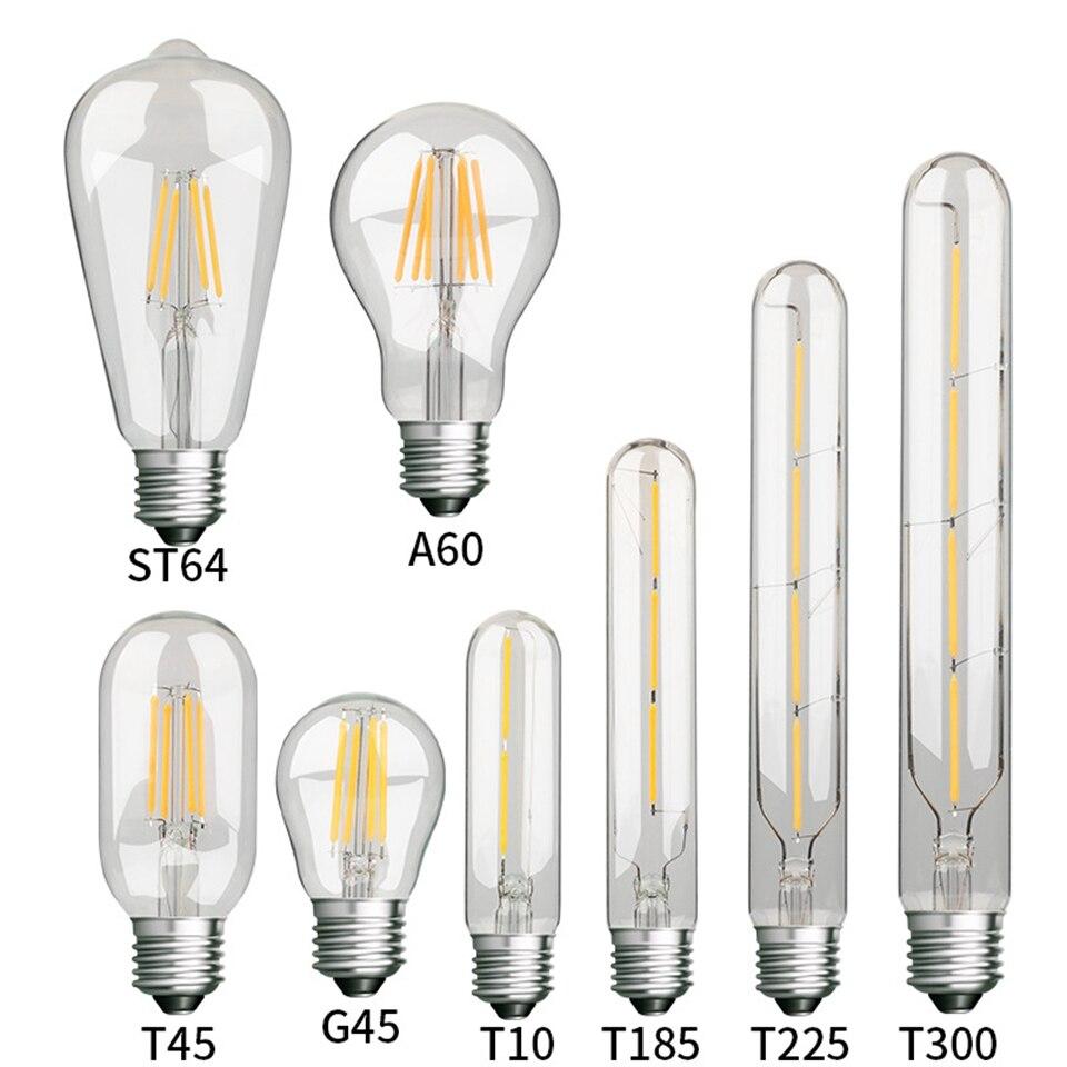 E27 Ретро светодиодный спираль лампа накаливания светильник Светодиодная лампа 4/6/8 Вт 220V ST64 G45 T45 T10 G80 G95 T185 T225 T300 A60 Винтаж Эдисон лампы