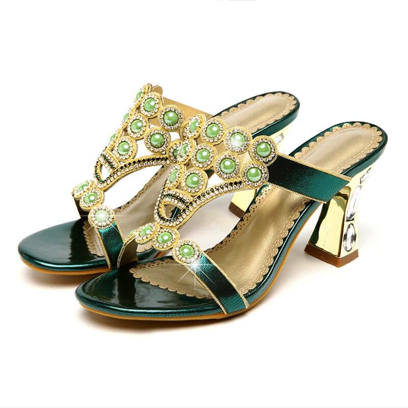 Шлепанцы; женская летняя обувь; модные шлепанцы из натуральной кожи на высоком каблуке с кристаллами и агатом; шлепанцы с открытым носком; пикантная женская обувь - 6