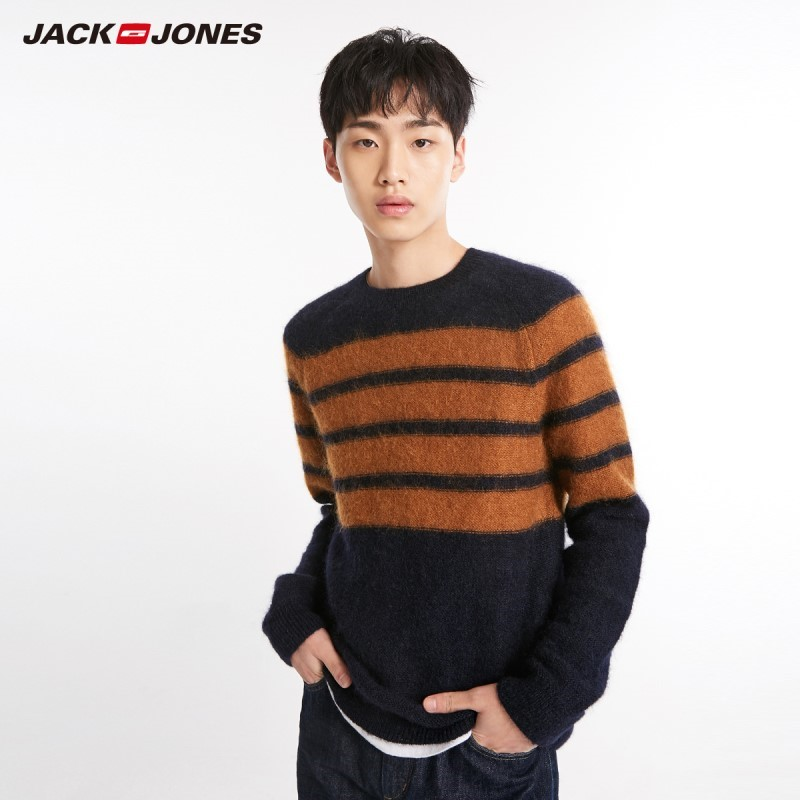 JackJones Men's Striped Style Printed Mohair Fabric Sweater Pullover Top Menswear 218425533