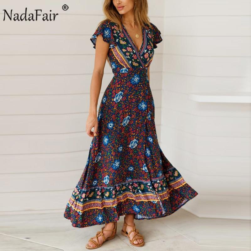 Nadafair Vintage Floral Maxi Dresses Elegant Beach Sash Sexy V Neck Split Print Tunic Long Summer Boho Dress Women Vestidos