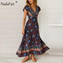 Nadadfair Vintage Vestidos Maxi florales elegante banda de playa Sexy cuello pico Split estampado túnica largo verano Boho vestido mujeres Vestidos