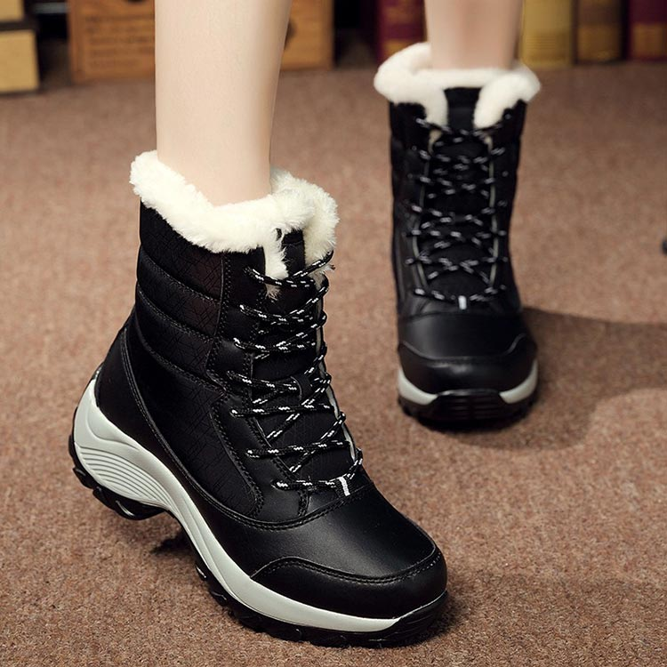 Winter boots women shoes 2019 fashion solid waterproof casual shoes woman hook&loop ankle boots warm plush snow women boots (1)