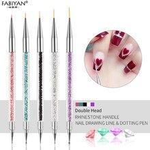 5 tamanho da arte do prego caneta pontilhar acrílico strass cristal 2 way uv gel pintura manicure ferramenta desenho forro flor escova decoração
