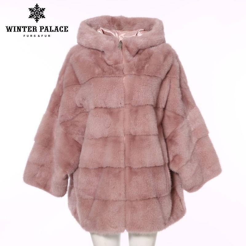 Hiver PALACE 2019 nouveau hiver femmes vison manteau chauve-souris veste manteau de fourrure fermeture éclair mode capuche réel manteau de fourrure