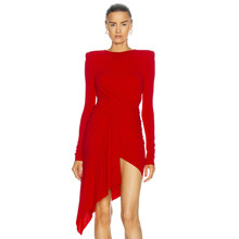 Ocstrade-vestido ajustado de manga larga para mujer, vestido Sexy drapeado Irregular rojo, vestidos de fiesta para Club nocturno 2021