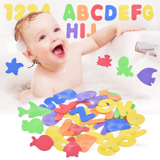 Alfanumerico Lettera Di Puzzle Giocattoli Da Bagno Morbido EVA Bambini Del Bambino Del Bagno di Acqua Giocattoli Educativi Precoci di Aspirazione Up Pesce Giocattolo di Balneazione 2