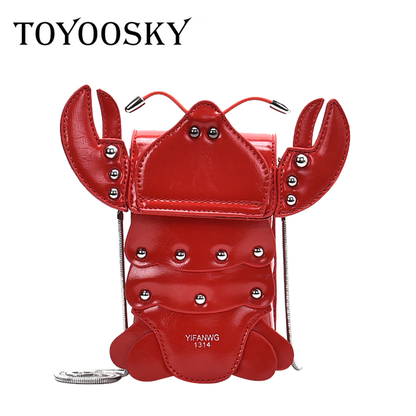 Fashion Rivet Crab Shape Women Shoulder Bag Designer Chains Cute Ladies Crossbody Bags Luxury Pu Leather Messenger Bag Purse