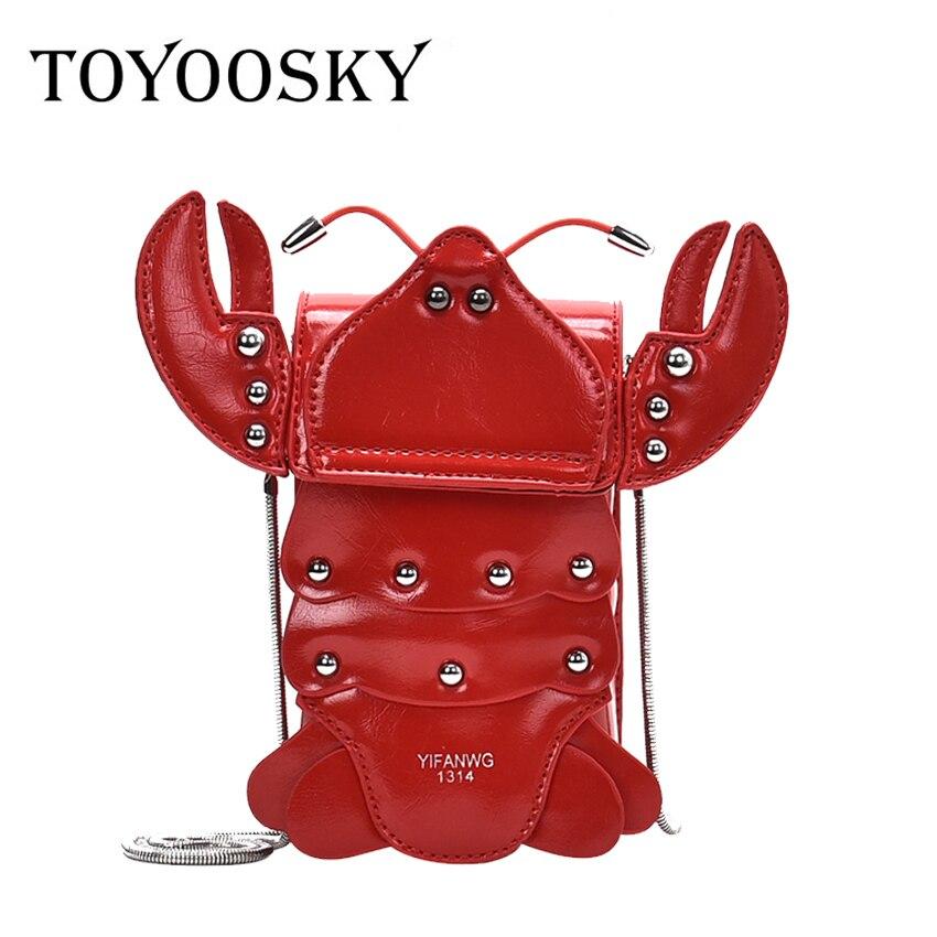 Fashion Rivet Crab Shape Women Shoulder Bag Designer Chains Cute Ladies Crossbody Bags Luxury Pu Leather Messenger Bag Purse