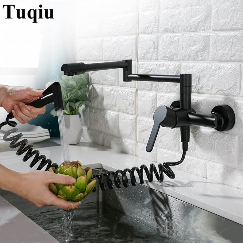 Kitchen Sink Faucets Solid Brass Sink Mixer Tap Hot & Cold Wall Mounted With Spray Gun Rotating Foldable High end Quality-in Kitchen Faucets from Home Improvement    3