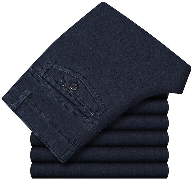 Big Size Classic Business Jeans For Men Autumn Winter Male Casual High Quality Thick Fleece Warm Elastic Denim Pants 30-42 CF229 2