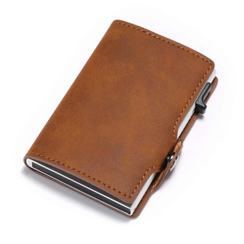 BISI GORO pojedynczy pojemnik na karty PU skórzany portfel na karty nowi mężczyźni RFID blokowanie aluminium inteligentny wielofunkcyjny wąski portfel etui na karty