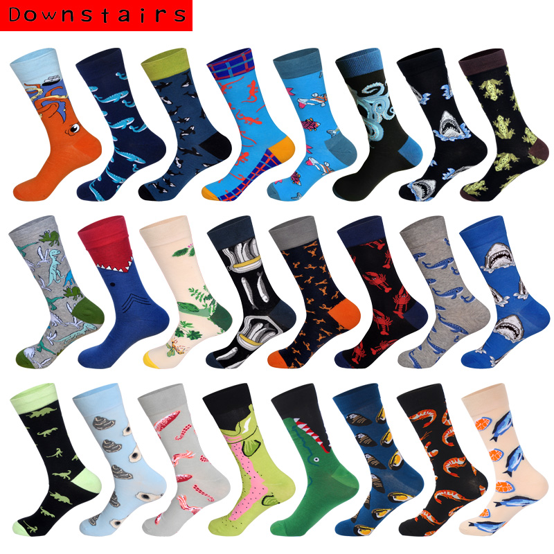 Downstairs Men Socks Individual Character Designs for Mens 24 Colors Fishs Sharks Dinosaurs Hip Hop Skateboarding stockings