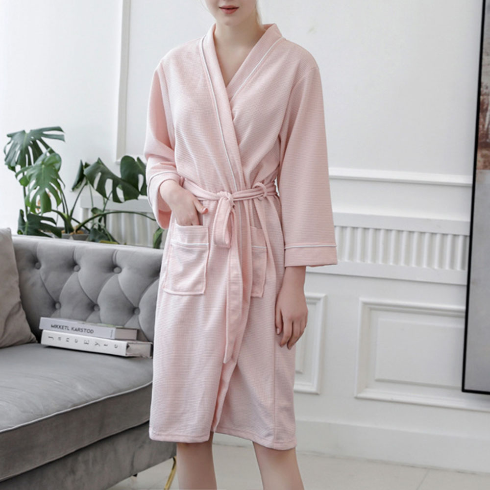 Solid Pink Women Lace-Up Night-Robes Plus Size Bathrobe Simple Loose Plain Female Nightgown Home Clothings
