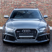 RS Style Grill For Audi A6 S6 RS6 2016 2018 Hex Mesh Front Racing Grille Honeycomb ABS Sport Edition With European Plate Holder