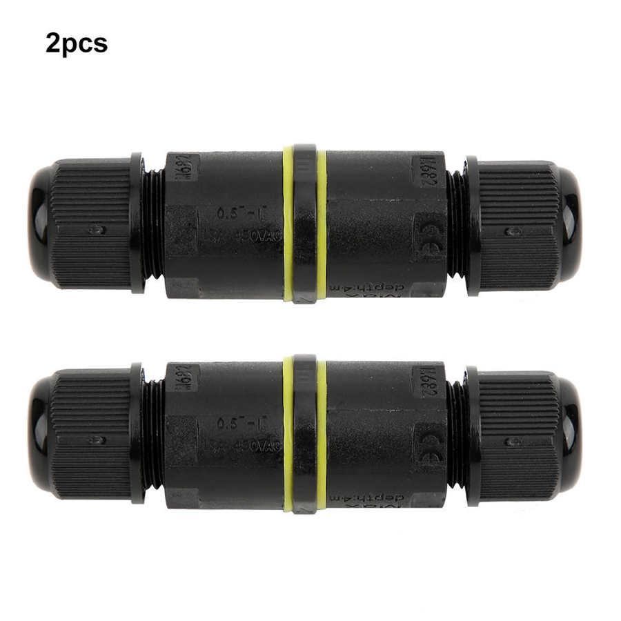 2個acジャンクコネクタIP68防水3ピン電線コネクタ密封された燃性ジャンクションボックス