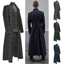 CYSINCOS мужская длинная куртка пальто Винтаж Coaplay костюм пальто со шнуровкой сзади наряд средневековый стимпанк Ренессанс стиль куртки