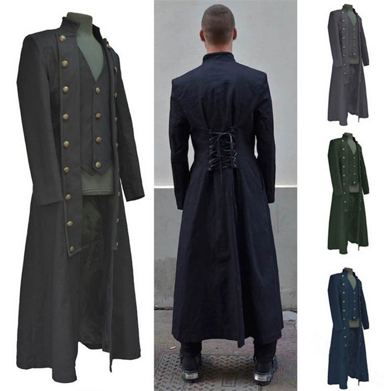 CYSINCOS Men's Long Jacket Coat Vintage Coaplay Costume Coats Back Lace Up Outfit Medieval Steampunk Renaissance Style Jackets