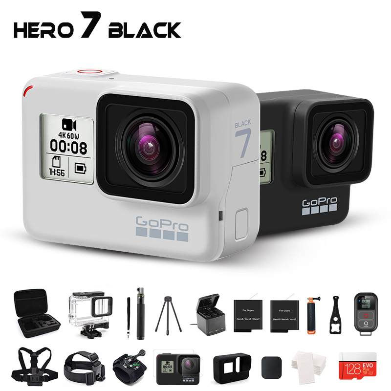 GoPro Hero 7 Black  Dusk White Waterproof  Action Camera Ultra HD 4K 60fps video Go Pro Hero 7 Wifi Sport Cam 12MP Photo LiveSports & Action Video Camera   -