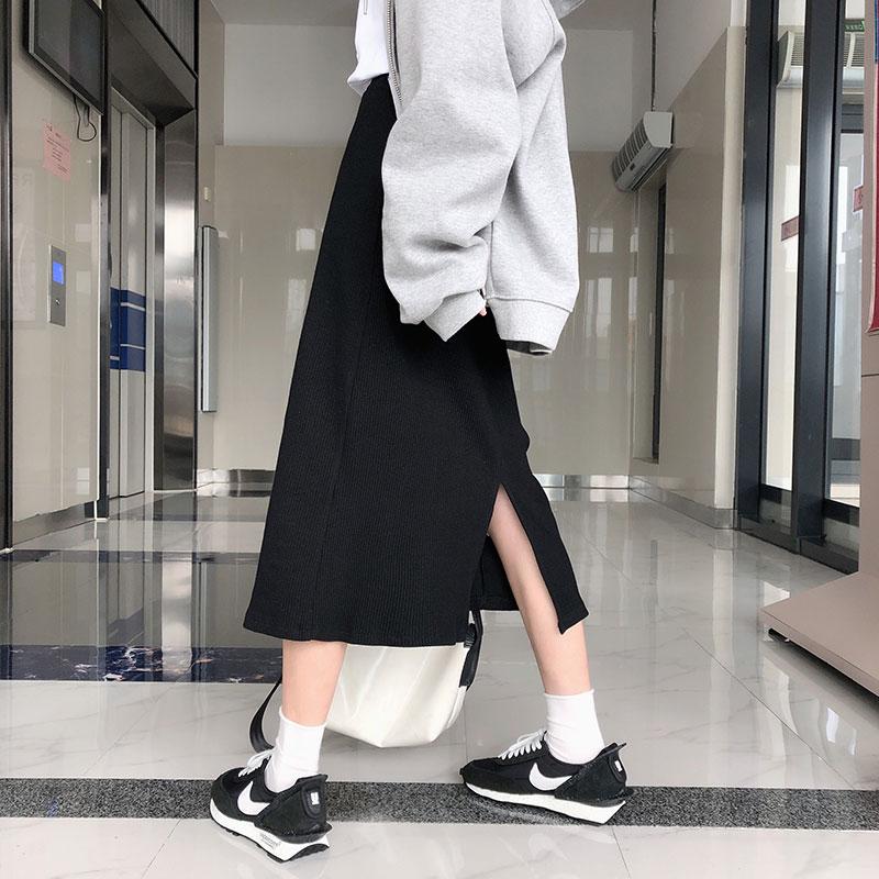 4 Colors Autumn High Waist Straight Skirts Womens 2019 Solid Color Back Split High Waist A Line Long Skirts Womens (X1169)
