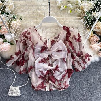 summer 2020 new mesh blouse short sleeve butterfly embroidery tops fashion sexy back bowknot blouses for women stylish lace embellished bowknot t back for women