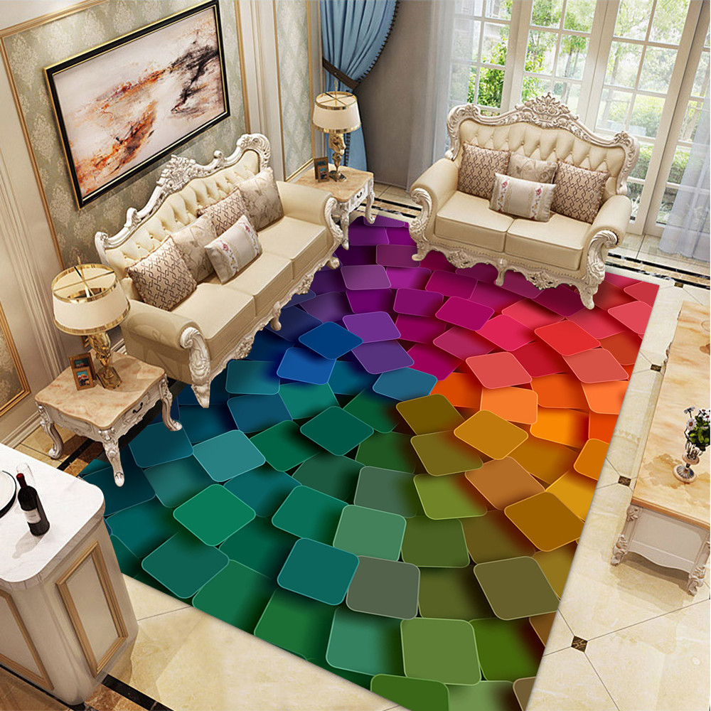 Creative 3D Geometry Carpets For Living Room Bedroom Area Rugs Modern Color Child Room Play Mat Flannel Memory Foam Large Carpet