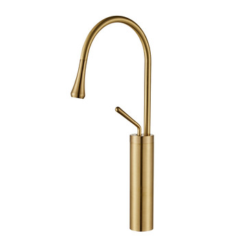 Basin Faucet Solid Brass Sink Mixer Tap Hot & Cold Lavatory Crane Deck Mounted Single Handle Rotating Brushed Gold Free Shipping