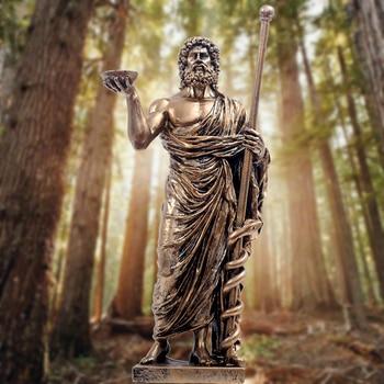 Resin Asclepius Statue Greek Mythology Art Craft Retro Creative Figurine Home Decorations Greek Healing God Statues Sculpture