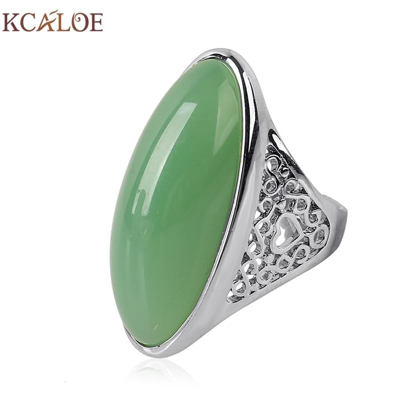 KCALOE Vintage Green / Black Big Stone Ring Natural Yellow stone Mujeres Anillos Anillos Mujer Accesorios de moda Joyas