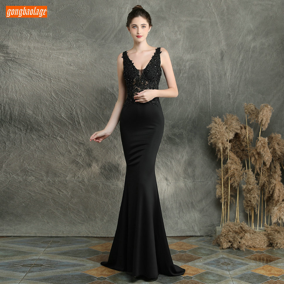 Sexy Dark Navy Long Evening Dresses V Neck Lace Appliqued Beaded Mermaid Formal Dress Women Party Slim fit Pageant Evening Gowns - 5