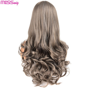 Image 2 - Длинные волнистые парики MISS WIG для чернокожих женщин, афроамериканские синтетические волосы, розовые, коричневые, с челкой, термостойкий