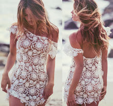 Goocheer Bikini Cover Up Sarong Swimwear Kaftan Dress Summer Beach Sexy Wear Lace Crochet Mini Skirt