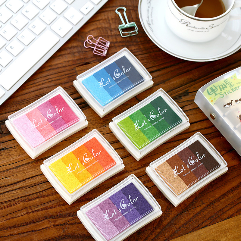 (6 Pieces/lot) Creative Candy Color Gradient Color Inkpad DIY Seal Ink Pad Multicolor