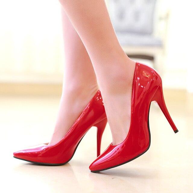 ربيع الخريف كعوب عالية على الموضة أحذية امرأة الكلاسيكية مضخات الوردي الأحمر الأزرق عارية الأخضر الكعوب أشار تو مكتب حفل زفاف حذاء