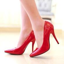 İlkbahar sonbahar moda yüksek topuklu ayakkabılar kadın klasik pompalar pembe kırmızı mavi çıplak yeşil topuklu sivri burun ofis parti düğün ayakkabısı