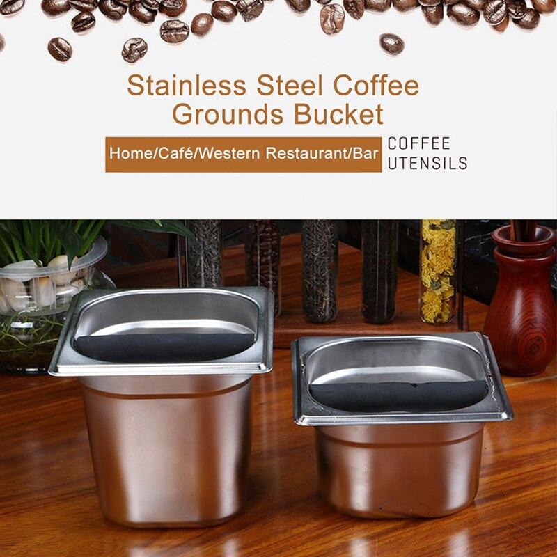 Contenedor de caja de café de acero inoxidable para moler café, recipiente de acero inoxidable de diseño profundo para uso doméstico, bandeja de contenedor de cocina